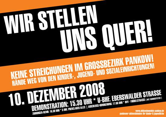 Demonstration gegen Streichungen im Kinder-, Jugend- und Sozialbereich  am 10.10.2008